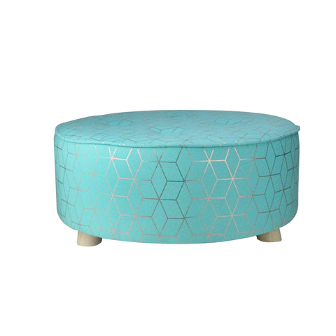 "20"" Blue and Copper Geometric Print Cotton Canvas Round Stool"