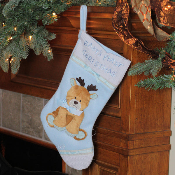"16"" Blue and White ""Baby's First Christmas 2017"" Christmas Stocking with Reindeer"