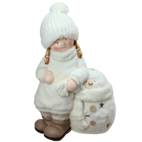 17.25 White Tealight Snowman with Standing Girl Christmas Candle Holder