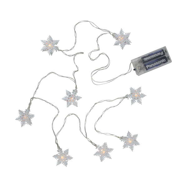 8 Battery Operated White LED Snowflake with Cap Christmas Lights - Clear Wire