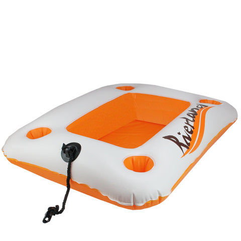 "29"" Inflatable Orange and White Cooler Riverland and Beverage Holder"