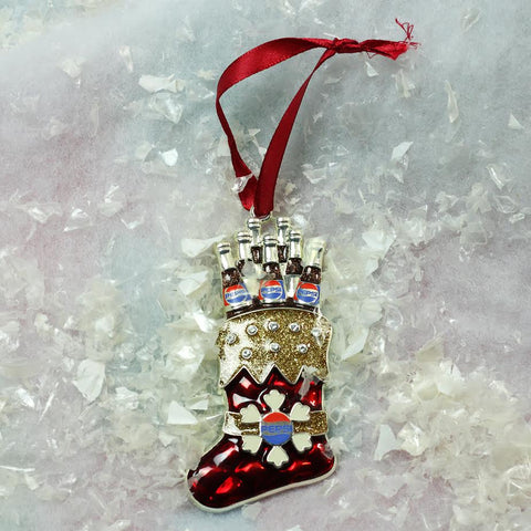 "3.5"" Red and Silver Plated Pepsi Stocking Christmas Ornament"