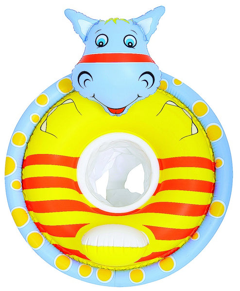 Inflatable Yellow and Blue Hippo Children's Swimming Pool Float, 31.25-Inch