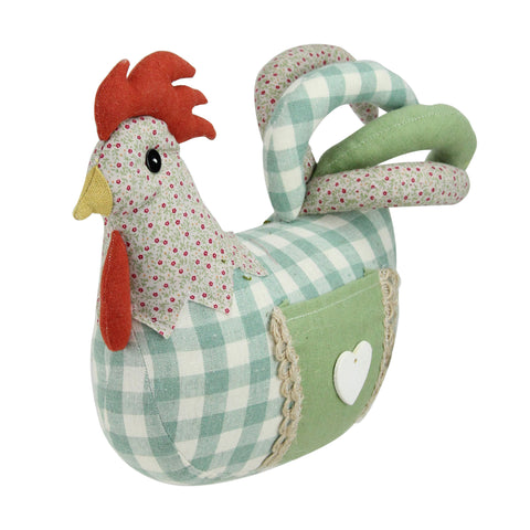 "9.5"" Country Farmhouse Plaid Fabric Rooster Spring Decoration"