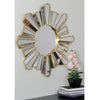 "25"" Sunburst Wave Matte Gold Round Wall Mirror"