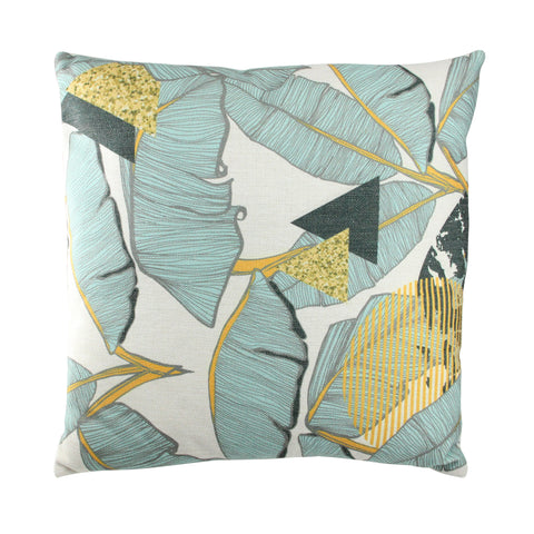 "17"" Green and Yellow Tropical Banana Leaf Printed Throw Pillow - Polyester"