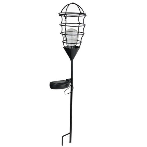 "23.5"" Black Geometric Solar Powered LED Outdoor Patio Metal Lantern with Garden Stake"