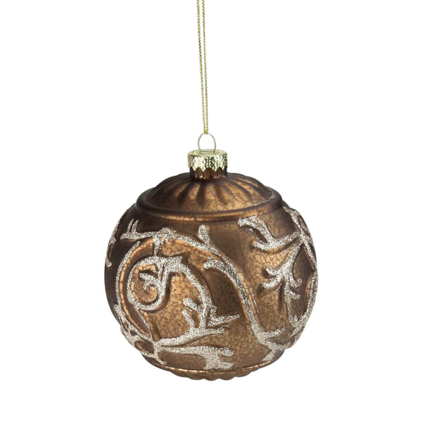 "Copper Brown Glitter Swirl Mercury Glass Christmas Ball Ornament 4"" (100mm)"