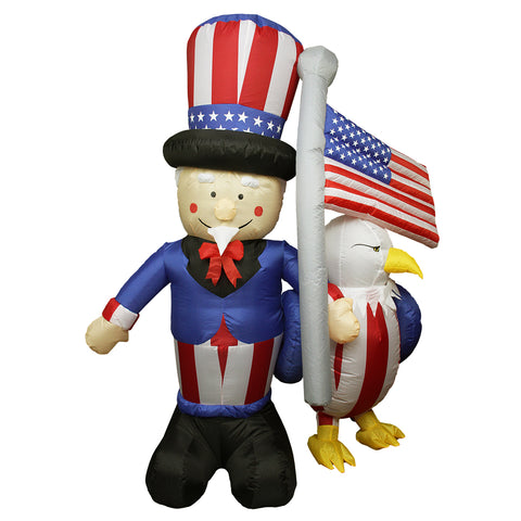6' Blue and Red Inflatable Lighted Uncle Sam with American Flag and Eagle Outdoor Decor