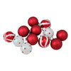 "12ct Red and White Glass 3-Finish Christmas Ball Ornaments 1.75"" (40mm)"