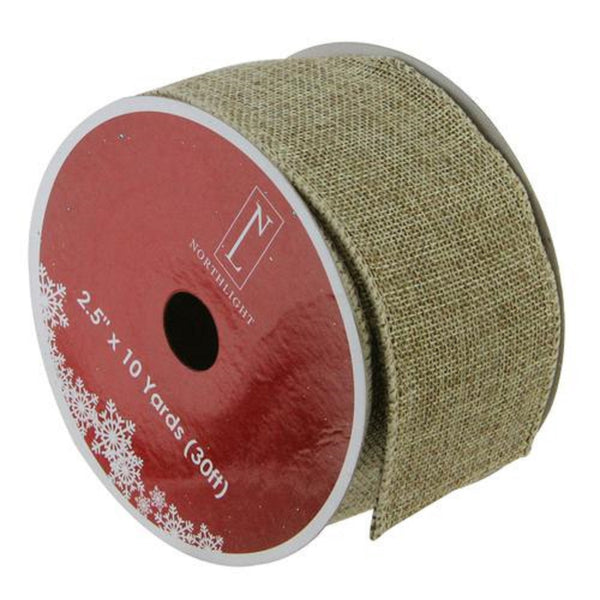 "Faded Green and Brown Burlap Christmas Wired Craft Ribbon 2.5"" x 10 Yards"