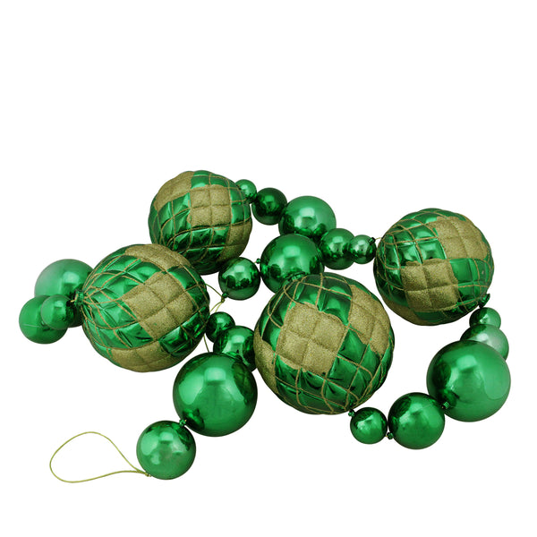 6' Shiny Green Shatterproof Christmas Ball Garland with Gold Glitter Accents