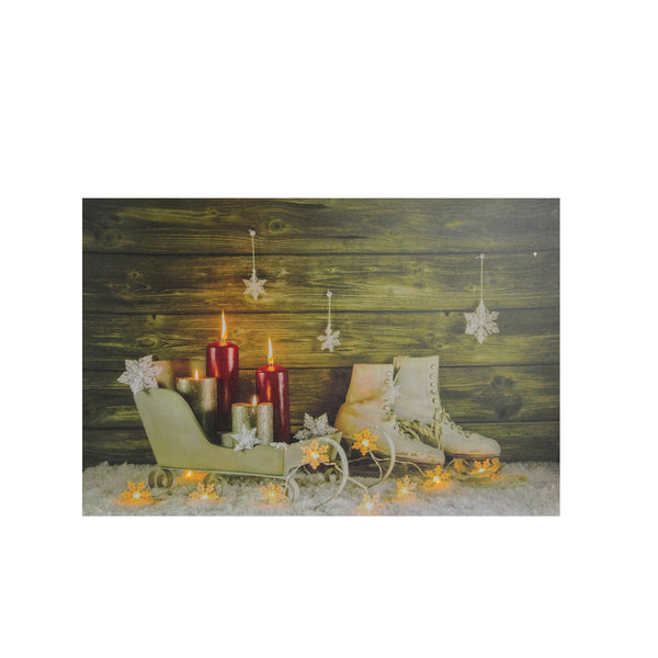 "Small LED Lighted Candles, Ice Skates and Sleigh Christmas Canvas Wall Art 12"" x 15.75"""