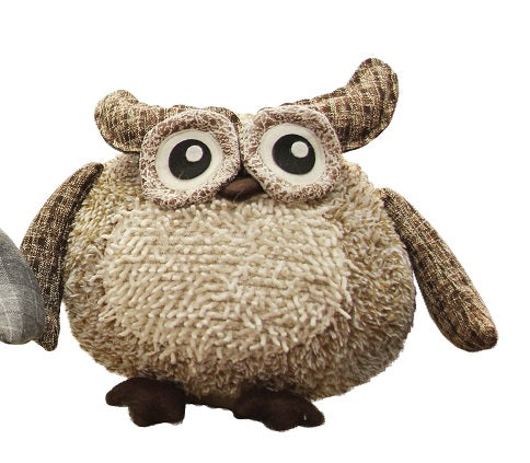 "10"" Charming Brown Plaid Owl w/ Textured Ivory Plush Table Top Christmas Figure"