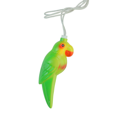 10 Multicolor Tropical Parrot Bird Christmas Lights - 7.5 ft White Wire