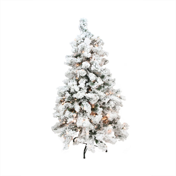 9' Pre-Lit Heavily Flocked Pine Medium Artificial Christmas Tree - Clear Lights