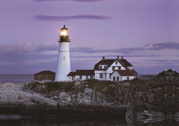 "LED Lighted Coastal Lighthouse Home with Sunset Canvas Wall Art 15.75"" x 23.5"""