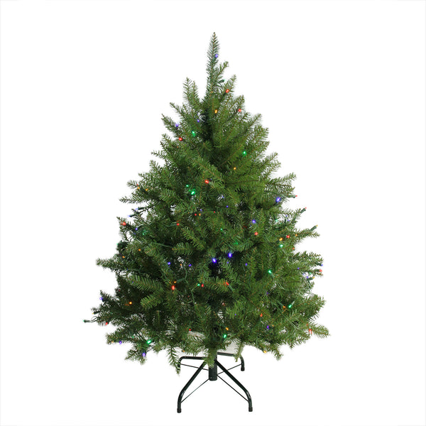 4' Pre-Lit Full Northern Pine Artificial Christmas Tree - Multicolor LED Lights