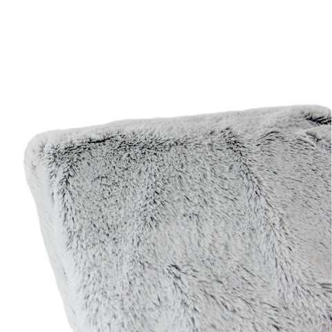 "Light Gray Plush Faux Fur Decorative Rectangular Throw Blanket 55"" x 62"""