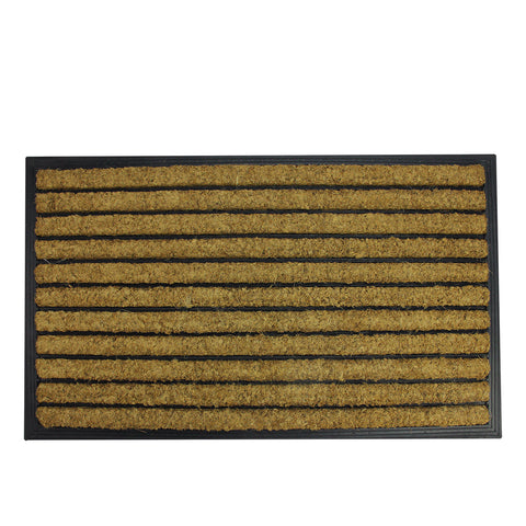 "Black and Brown Striped Non-Skid Outdoor Rectangular Doormat 17.75"" x 29.5"""