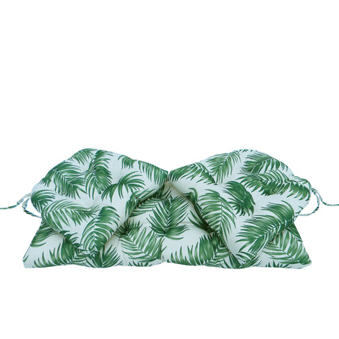3pc Green and White Tropical Palm Frond Tufted Wicker Loveseat Cushions 41.5""