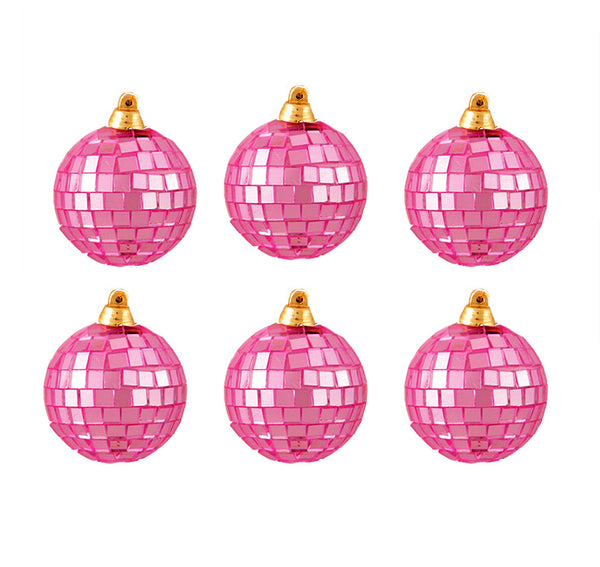 "6ct Bubblegum Pink Mirrored Glass Disco Ball Christmas Ornaments 2.75"" (70mm)"