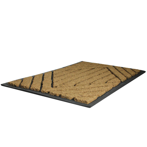 Black and Brown Diamond Pattern Doormat with Rubber Back 29 x 17