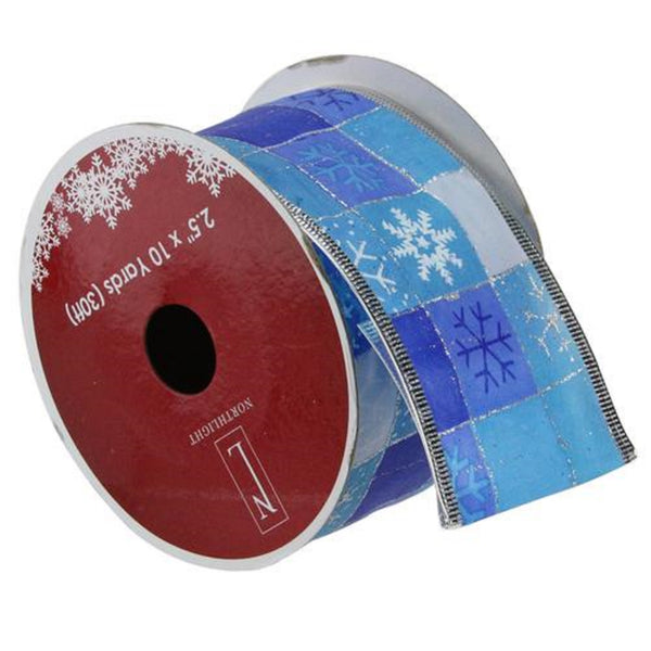 "Squares of Blue Snowflake Wired Christmas Craft Ribbon 2.5"" x 10 Yards"