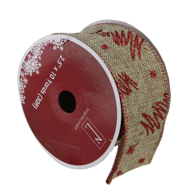 "Pack of 12 Red and Beige Christmas Tree Wired Craft Ribbons - 2.5"" x 120 Yards"