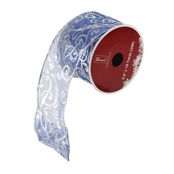"Blue and Silver Shiny Abstract Swirls Wired Christmas Craft Ribbon 2.5"" x 10 Yards"
