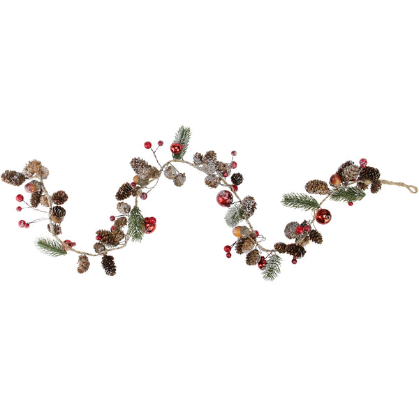 "39.5"" Pine Cones and Berries Winter Foliage Christmas Twig Garland - Unlit"