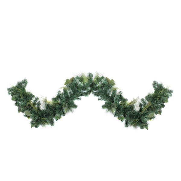 9' Assorted Foliage and Needle Branch Christmas Garland - Unlit