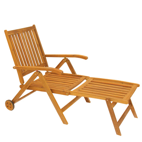 "55"" Brown Acacia Wood Outdoor Patio Chaise Lounge Chair"