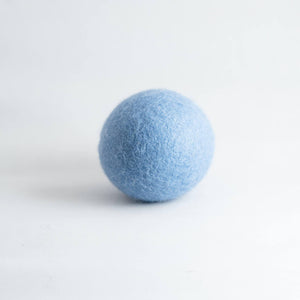 blue organic wool dryer ball