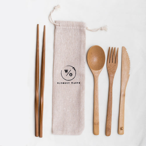 bamboo reusable utensils and cotton pouch