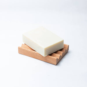 olive oil soap bar on soap block