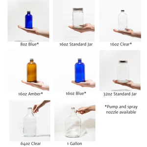 eight glass bottles available for zero waste refill