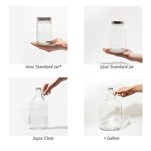 glass bottles available for zero waste refill