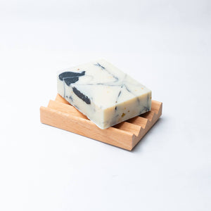 sea kelp charcoal bar soap on soap block
