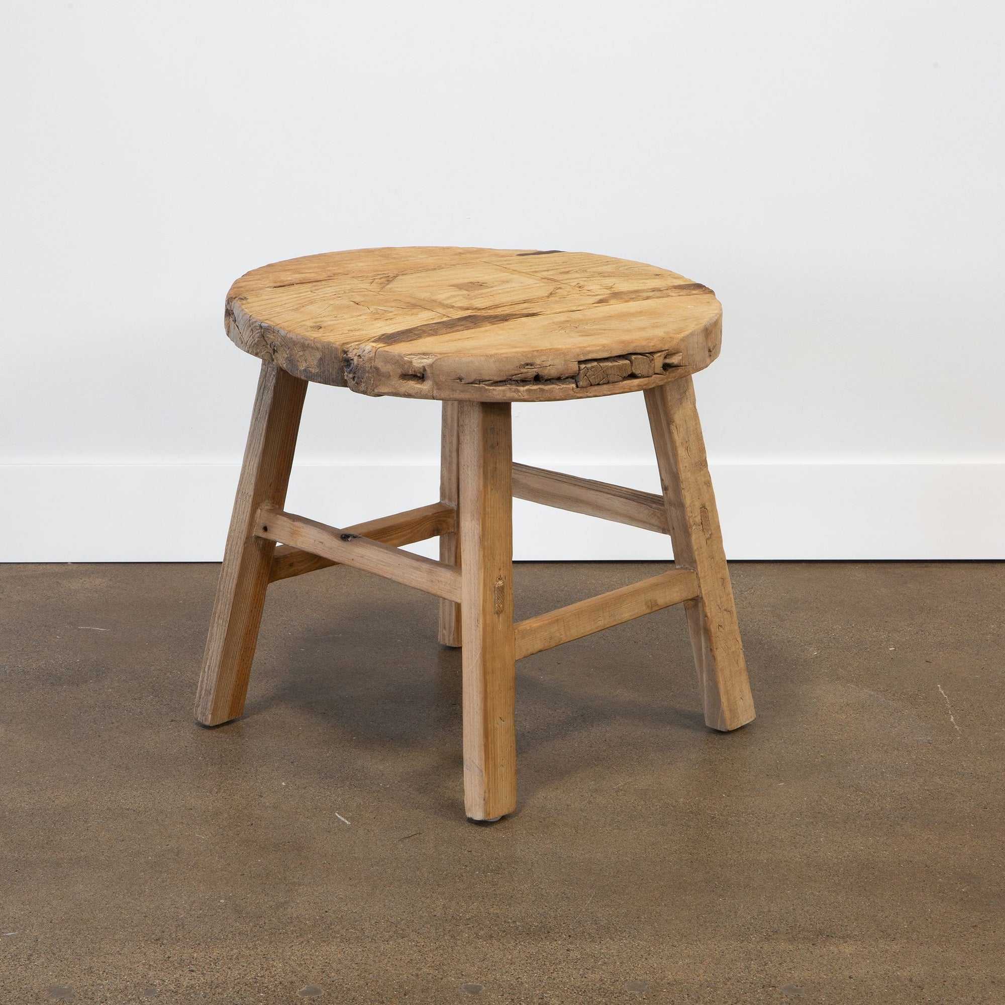 Round Vintage Wood Side Table