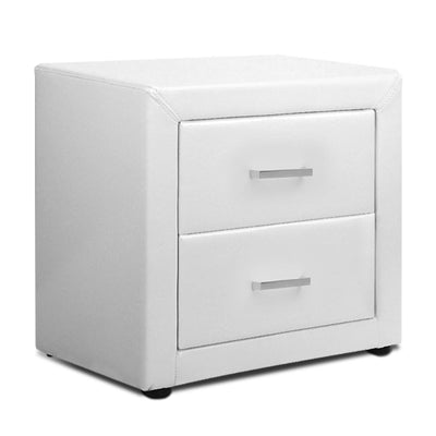 Artiss Moda Bedside Table - White PU Leather - Artiss