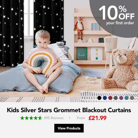 kids silver star blackout curtains