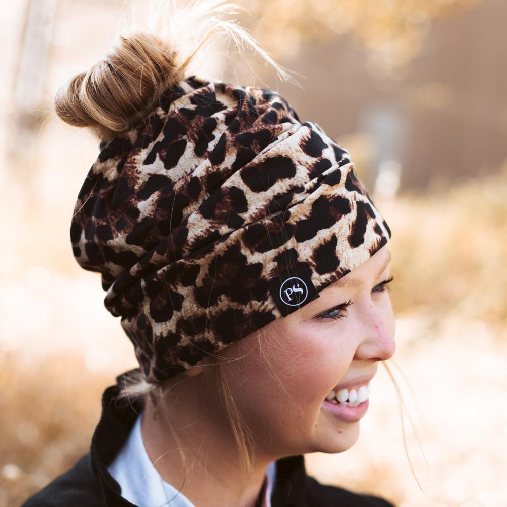 Large Leopard Print Peek-a-Boo Beanie - Multi Function Face Mask-Wholesale-Pretty-Simple
