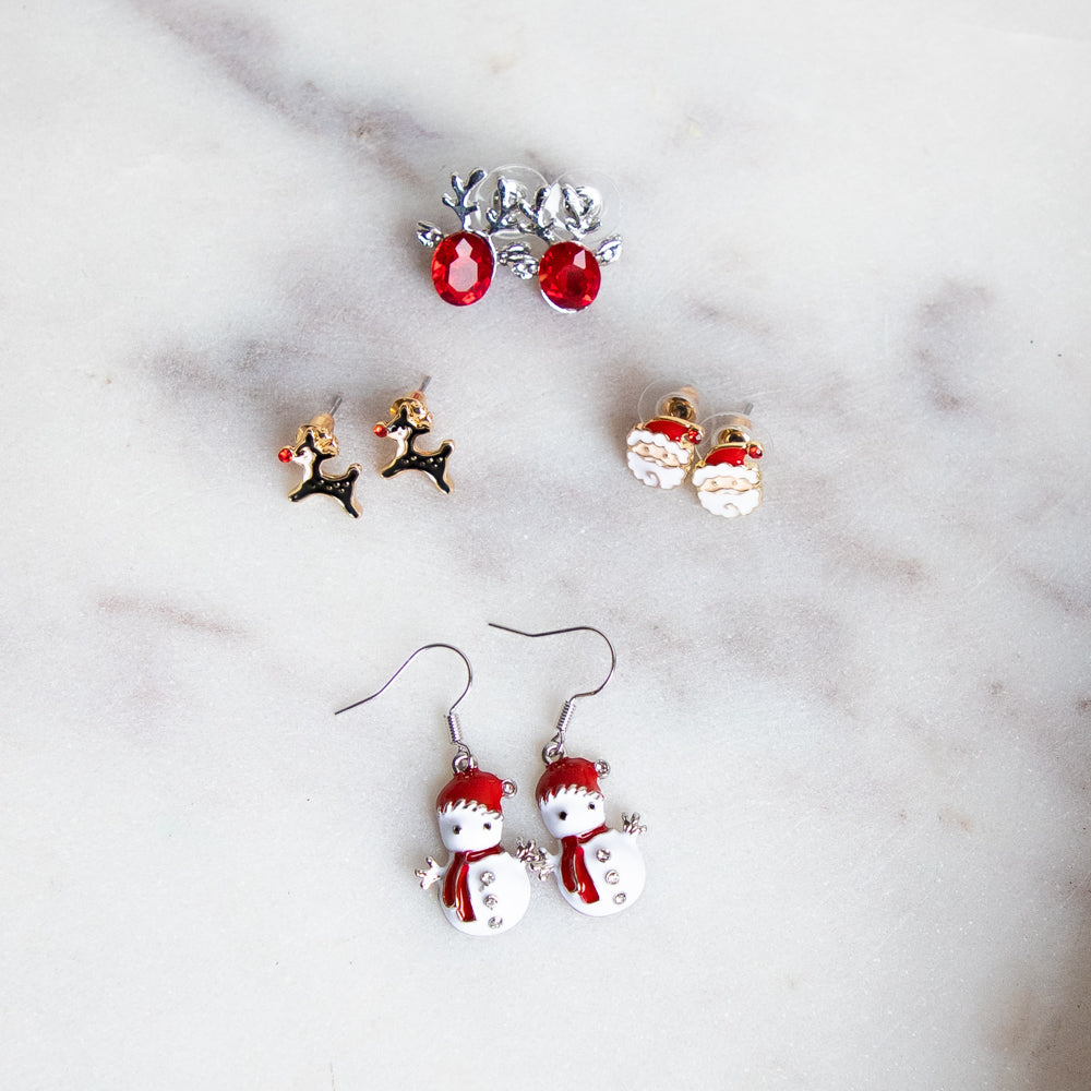 Holiday Earrings Collection-Wholesale-Rudolph-Pretty-Simple