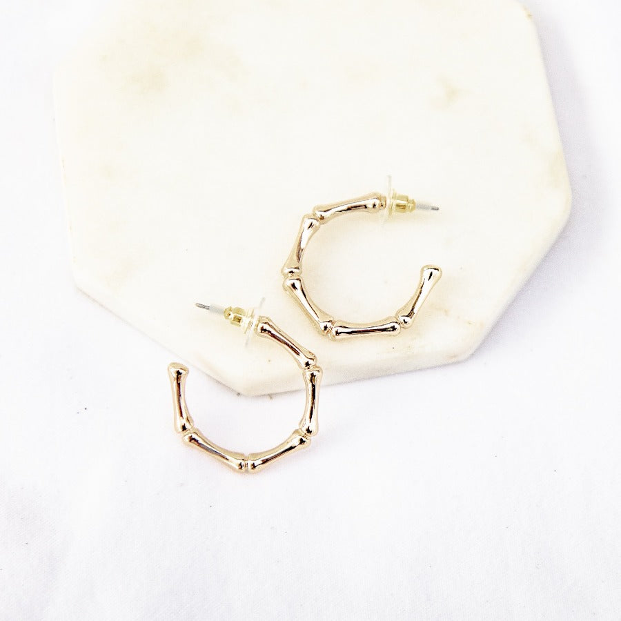 Brilliant Bamboo Hoops-Wholesale-Gold-Pretty-Simple