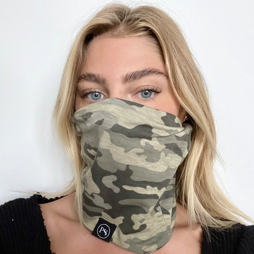 Faded Camo Peek-a-Boo Beanie, Multi-Function for Non-Medical Face Mask Use-Wholesale-Pretty-Simple