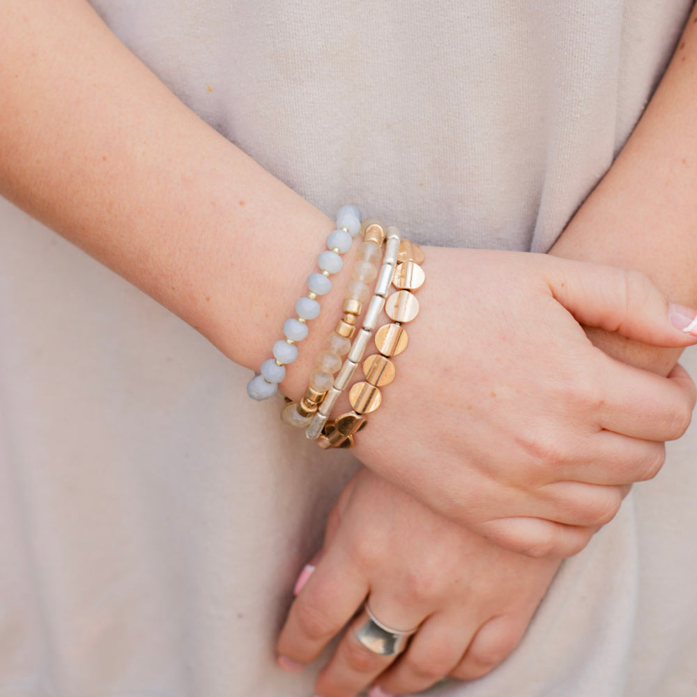 Laney Stretchy Stack Bracelet Set - Gold/Grey