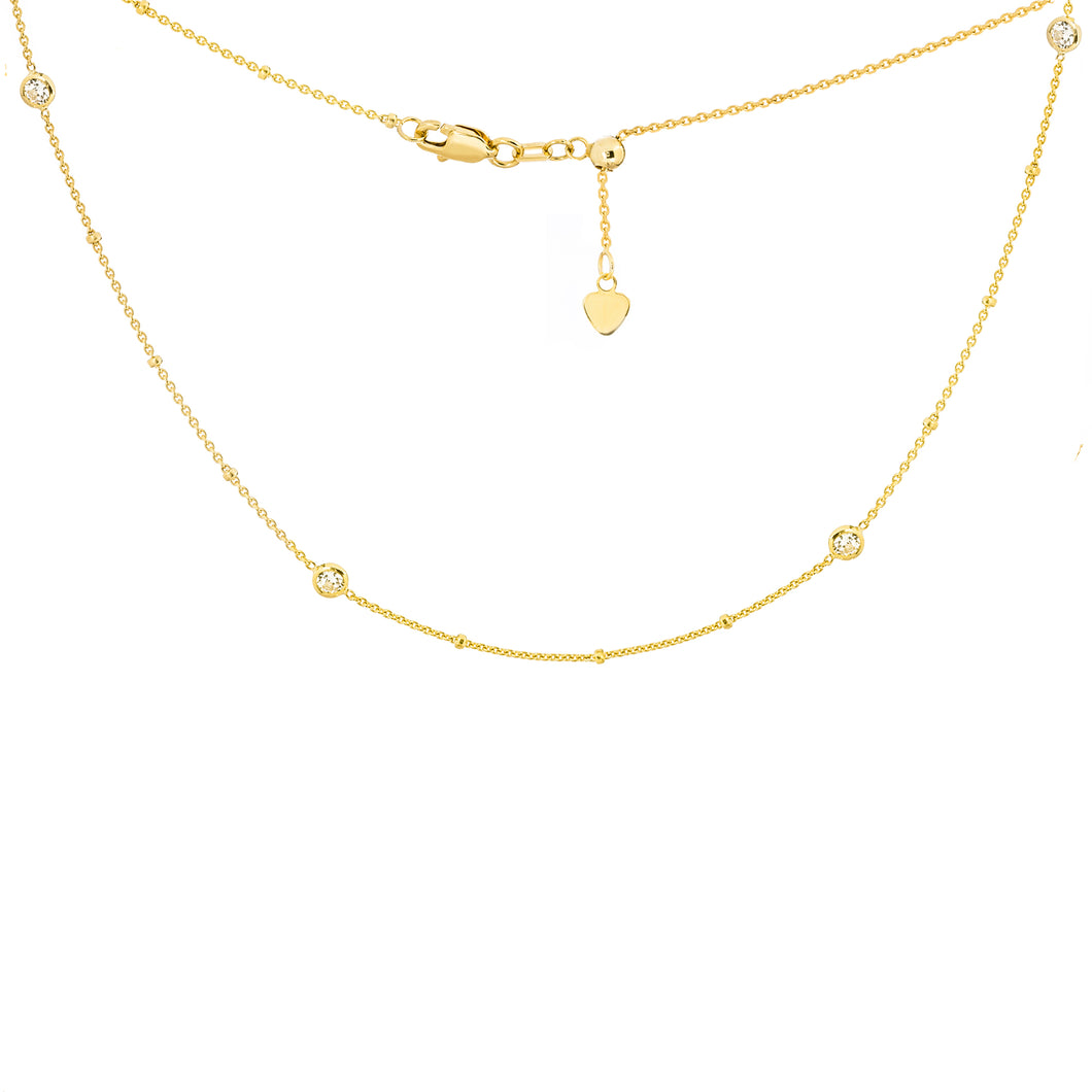 14kt Yellow Gold CZ Choker Necklace