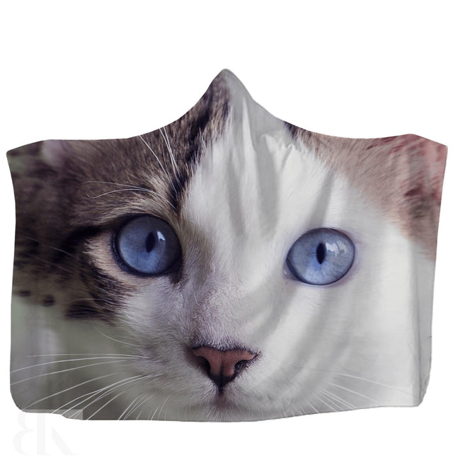 Blue Eyed Cat Hooded Blanket-BK Variety Market
