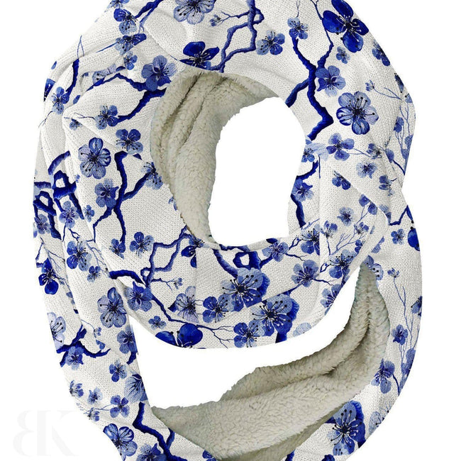Blue Flower Blossoms Infinity Scarf-BK Variety Market